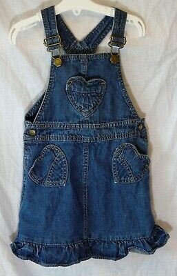 BNWOT Girls Ex Blue Zoo Jersey Denim Effect Dungaree Dress Age 3-4 Years Only
