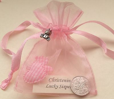 Lucky Sixpence in Gift Bag & Silver Bear Charm - Baby Girl - Christening Present