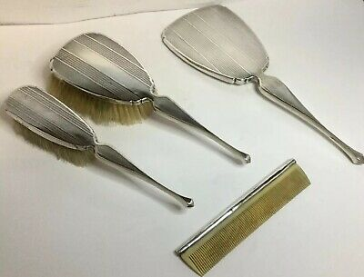 Art Deco Antique Silver Dressing Table Vanity Set - Mirror Brushes Comb, 1928