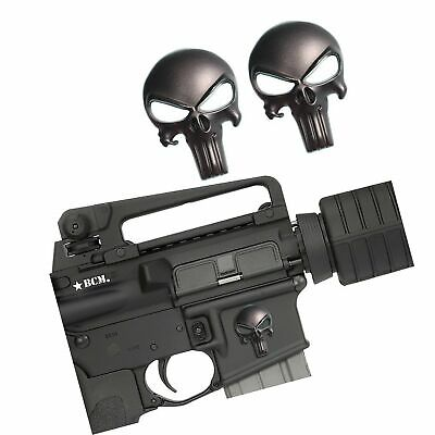 Creatrill 2 Pack Magwell Metal Decal Sticker Punisher Skull 1 inch by 1.38 ...