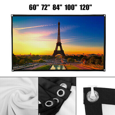 """84""""/100"""" Projector Projection Screen White Matte 3D Home Cinema Theater"""