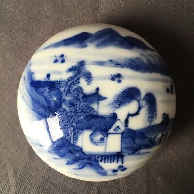 Antique 19th C Chinese Blue&White Porcelain Ink box