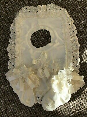 Romany Blinged ivory cotton, lace & anglaise Baby Christening bib & socks 3.5.5