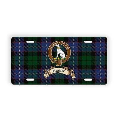 Hunter Scottish Clan Tartan Novelty Auto Plate with Crest and Motto