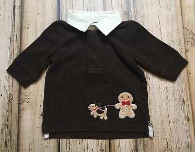 NWT Gymboree Toddler Gingerbread Boy Brown Long Sleeve Polo Shirt Top 0 3 months