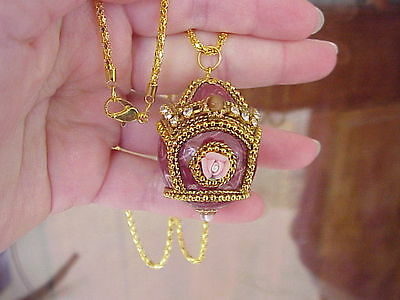 REAL Quail Egg Locket Necklace Handmade Decorated Trinket Box Easter Gift Red
