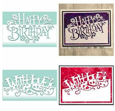 Happy Birthday & With Love Metal Cutting Dies Stencil DIY Decorative Embossing