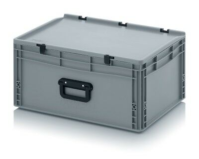 Plastic Box 60x40x28, 5 with Grip & Lid Storage Box Stacking Crates Chest