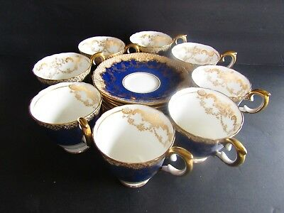 8 Crown Staffordshire Pattern A13044 Cobalt Blue & Gold Demitasse Cup and Saucer