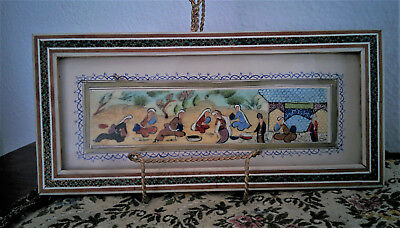 Vintage Hand-painted Persian Khatam Mosaic Marquetry inlaid great condition