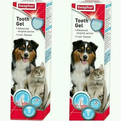 + x2 Beaphar Tooth Gel Dogs Cats Liver flavour 100g No Brushing Required 16,14