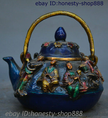 "5"" Old Chinese Dynasty Bronze Enamel Eight Immortals PaHsien Wine Tea Pot Flagon"