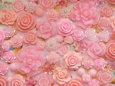 CandyCabsUK Mixed Resin Flowers Baby PINK Mix Flatback Cabochon BULK DIY Roses