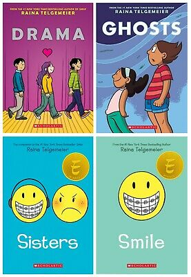 Raina Telgemeier 4 Books Collection Set (Sisters, Drama, Smile, Ghosts) PB