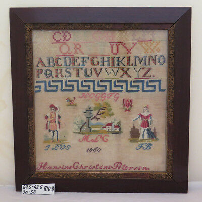 ANTICO RICAMO A MEZZOPUNTO DANIMARCA 1860 Sampler Needlework CROSS STITCH R108