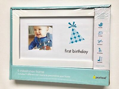 Pearhead 1st First Birthday Photo Frame, Boy, Personalize w/9 Inserts White Wood
