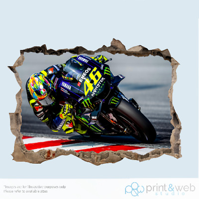 Valentino Rossi 46 Motor Bike Race 3d Smashed Wall View Sticker Poster Vinyl
