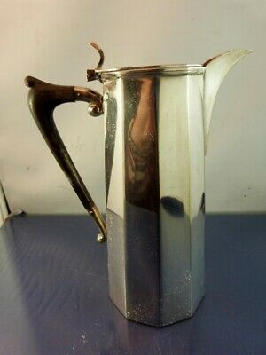 William Suckling & Son Ebony Handle 10 Sided Hot Water Pitcher Silver Plate