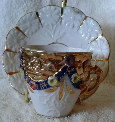 French Faience Applied Flowers Cobalt Blue Raised Gold Gilt Demitasse Cup Saucer