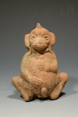 Pre Columbian El Salvador Provincial Simian Faced Pottery Figure ca 250BC-250 AD