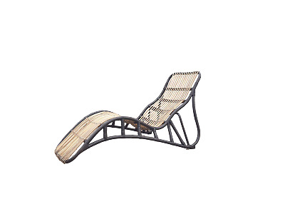 Organic Rattan Long Easy Chair 1960 Fauteuil Relax Chaise Longue Rotin Design
