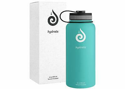 Hydrate Stainless Steel 32 oz Water Bottle. Double Wall Insulated. BPA Free BLUE
