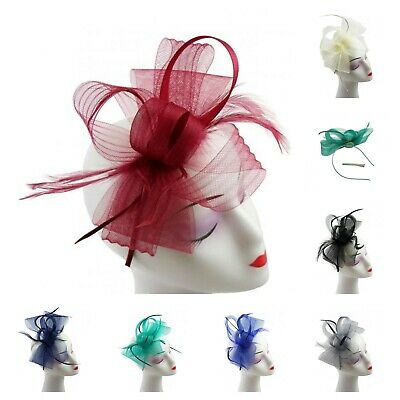 Ladies Feather Fascinator with Headband and clip Race Royal Ascot wedding Party