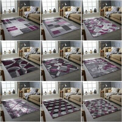 Living Room Bedrom Purple Grey Rug Small Extra Large Floor Carpet mat Cheap Rugs