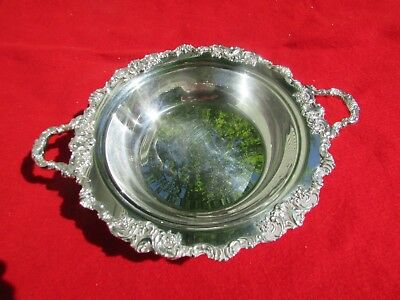 """Baroque Pattern Handled Center Fruit Bowl By Wallace Silver Plate 11 3/4"""" Dia."""