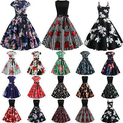 Womens Retro Floral 50s Rockabilly Pinup Vintage Evening Prom Party Swing Dress