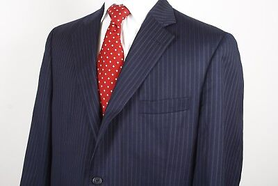 Jack Victor Loro Piana Two Button Sport Coat / Jacket Size 44R Blue Striped Wool