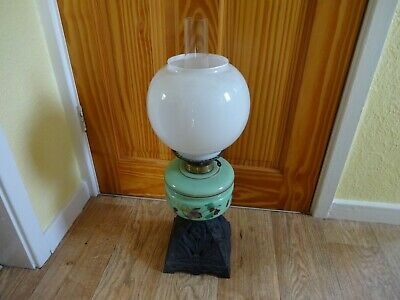 Antique Victorian Green Glass Oil Lamp Original Burner With Cast Iron Base C1890