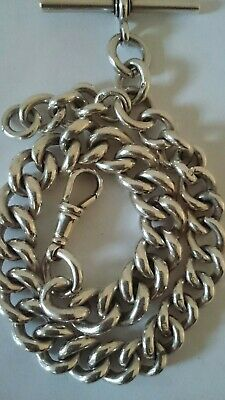 Solid Silver Antique Graduated Albert Pocket Watch Chain Heavy 79 Grams