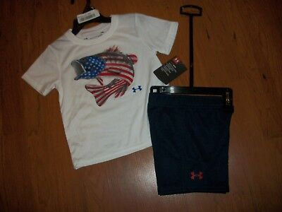 57c1bdc8 NWT UNDER ARMOUR 2 pc tank/shorts set size 2t 3t 4t American Flag ...