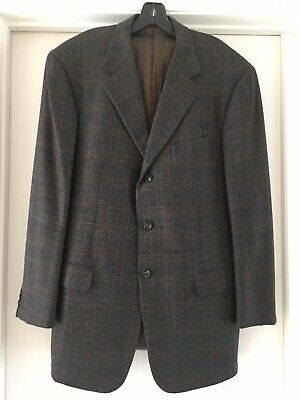 Pal Zileri  Gray / Brown Check Wool Blazer, Made Italy , Size 56R IT/ 46R US