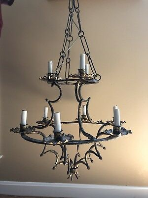 Antique French Medieval Chandelier Tudor Chateau Primitive Wrought Iron 2 Tier