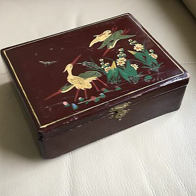 Antique Lacquered Box Victorian Painted Brown Black Chinese Jewellery Trinket