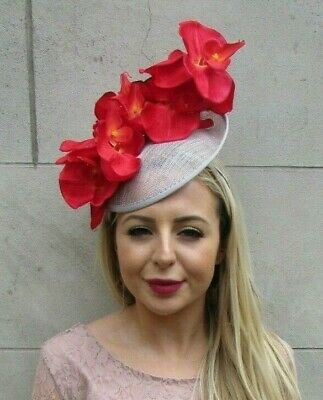 Grey Red Orchid Flower Saucer Disc Hat Fascinator Headband Floral Ascot 7165