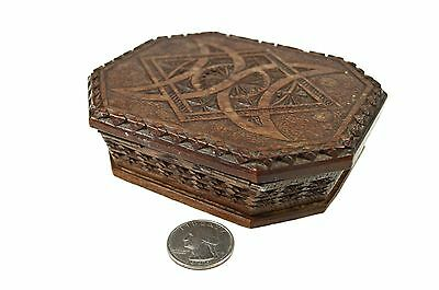 Antique Frisian Walnut Octagon Chip Carved Box with Flaring Sides, Dutch.