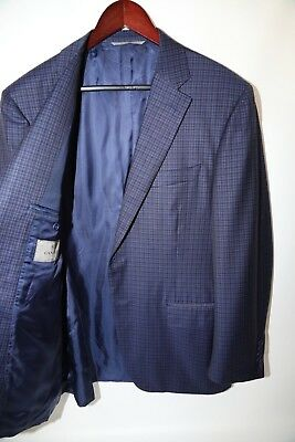 #201  CANALI  Two Button 100% Wool Check Fabric Blazer Jacket Size 42 R