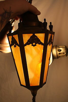Antique Slag Glass & Brass Hanging Lamp Ceiling Light Fixture Original Patina