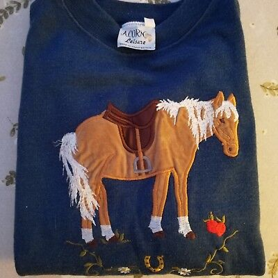 Vintage Acorn Leisure Navy Jumper with horse Age 8-10 Rare