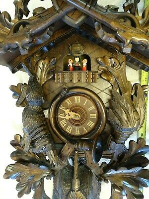 "30"" Antique German Black Forest Cuckoo Clock musical 8 days"
