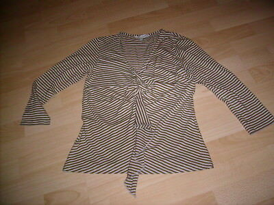 LOVELY brown taupe stripe stretchy frilly V neck womens top size 10 LAURA ASHLEY