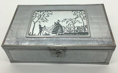 1920'S Antique Wooden Mirrored Victorian Stationary Box B9