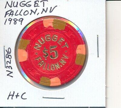 $5 Casino Chip Nugget Fallon Nv 1989 H & C #N3286 Gambling Token Slots Gaming