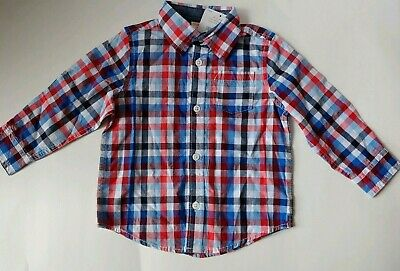 Gymboree Boy Red Blue White Check Plaid Button Down LS Shirt Easter 18-24mos