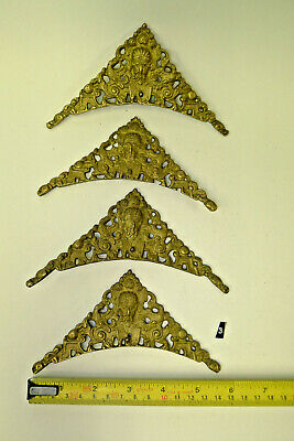 3) Antique/Period SET of FOUR CLOCK SPANDRELS Cast Yellow Brass Longcase