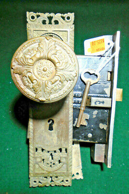 1905 CORBIN 'ST CLOUD' ENTRY MORTISE LOCK w/ KEYS PLATES & KNOBS  - NICE (11186)