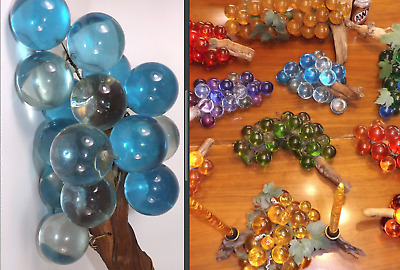 Lucite Acrylic Grapes Grape Cluster Driftwood Blue Vintage Mid Century Modern